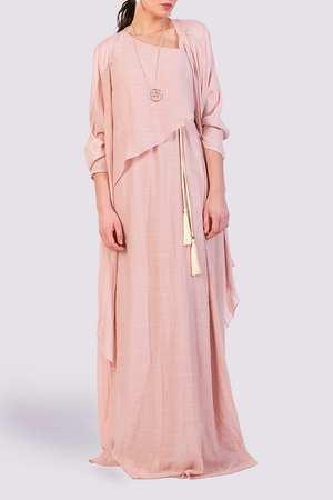 Pink maxi dress with rope belt