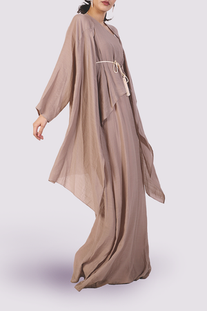 Moutaki long cardigan in light brown
