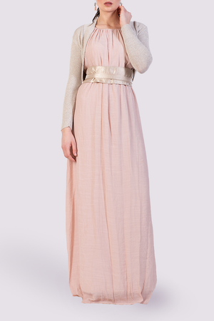 Moutaki maxi dress in pink with sash belt