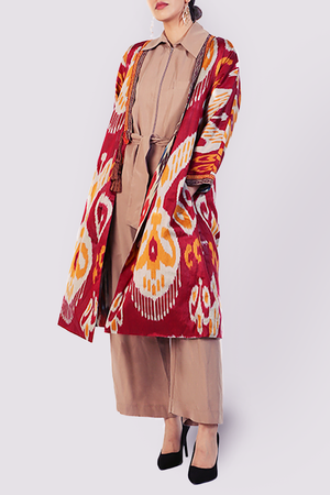 Silk Ikat Kaftan Jacket with Pleats in Red