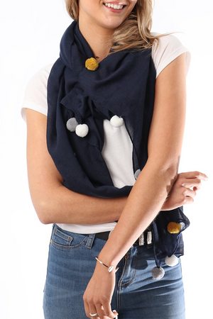 Navy scarf with big yellow and grey pom poms by MSH