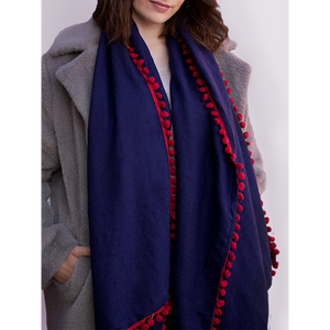 Navy Blue Winter Scarf with Burgundy Pompom