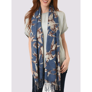 MSH Medium weight blue scarf with Swallow print and tassels