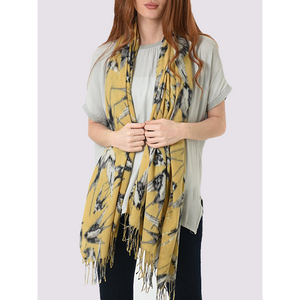 MSH Medium weight mustard yellow women's scarf with Swallow print and tassels