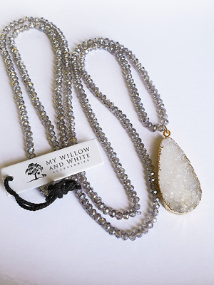 Forrest Necklace in Smoky Crystal and Druzy