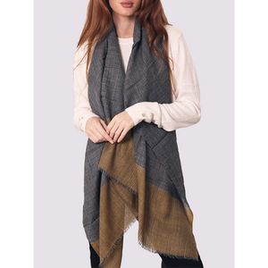 MSH Ladies Grey Checkered Woollen Scarf with Mustard Yellow Panel