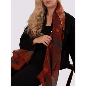 MSH Grey and Rustic Orange Watercolour design woollen ladies scarf