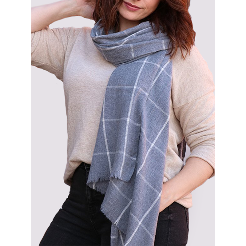 MSH Ladies recycled cotton scarf in dark grey with check pattern