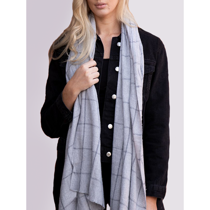 MSH Ladies recycled cotton scarf in grey with dark grey check pattern