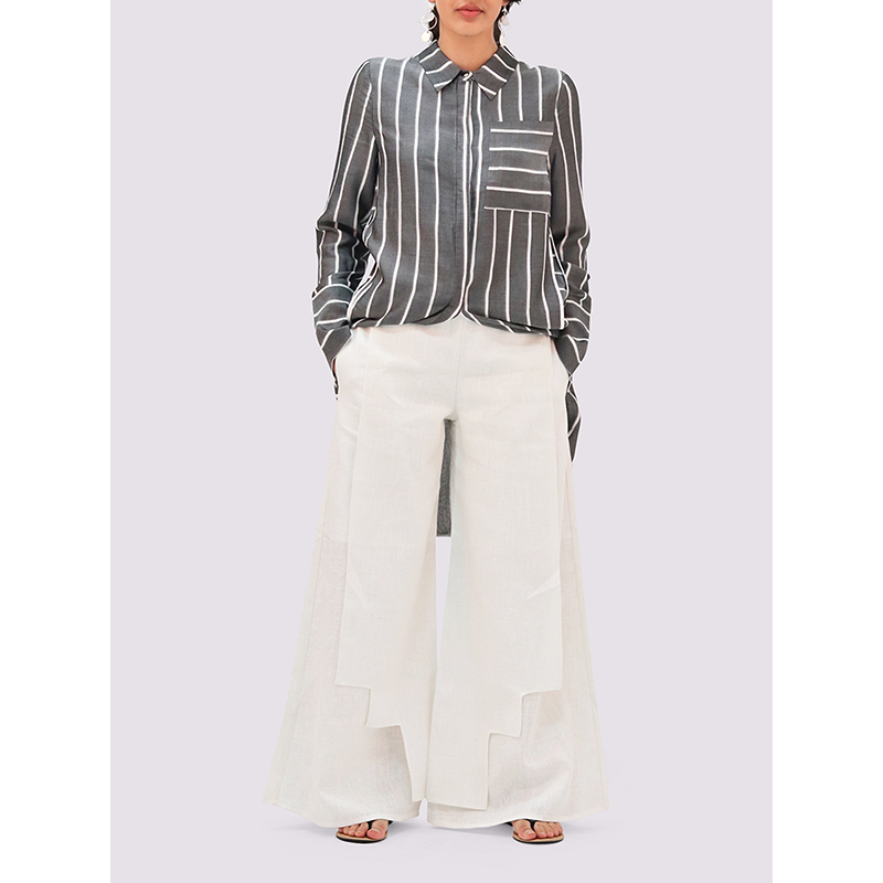 Attitude157 White Linen Trousers
