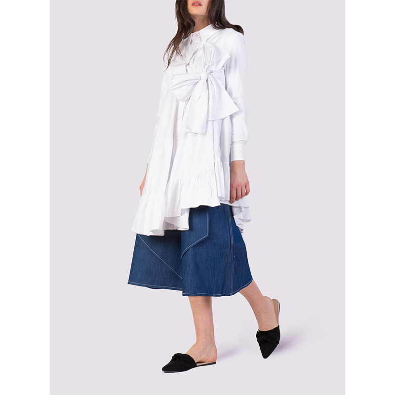 Attitude157 White Origami Shirtdress