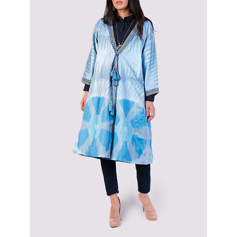 Bibi Hanum Ikat Chapan Jacket in Blue