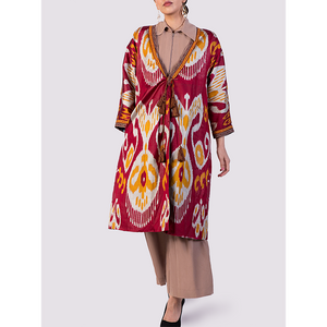 Bibi Hanum Ikat Chapan Jacket in Red
