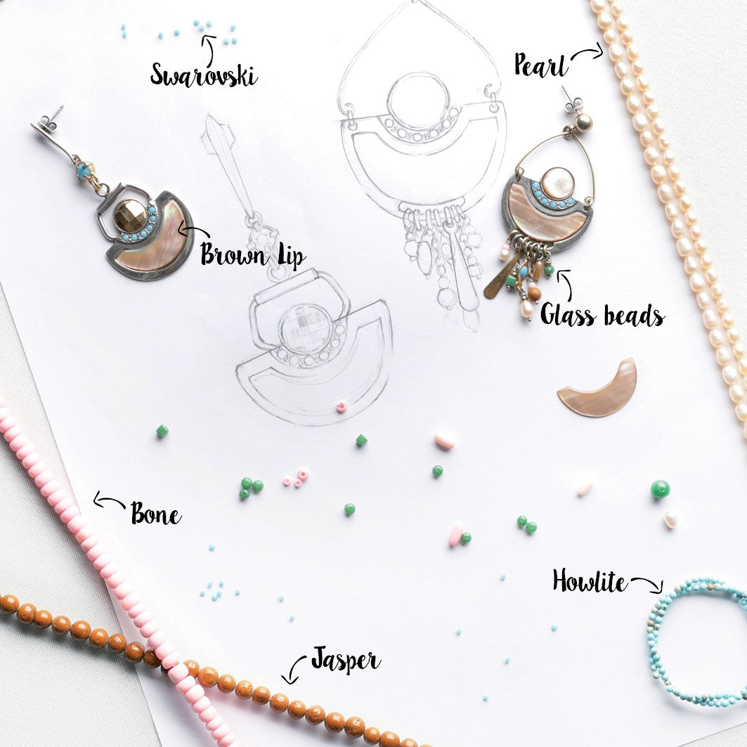 Materials for Coleen earrings by Franck Herval