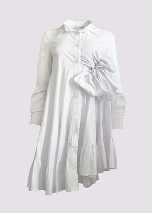 White Cotton Flared Shirt with Origami Designs