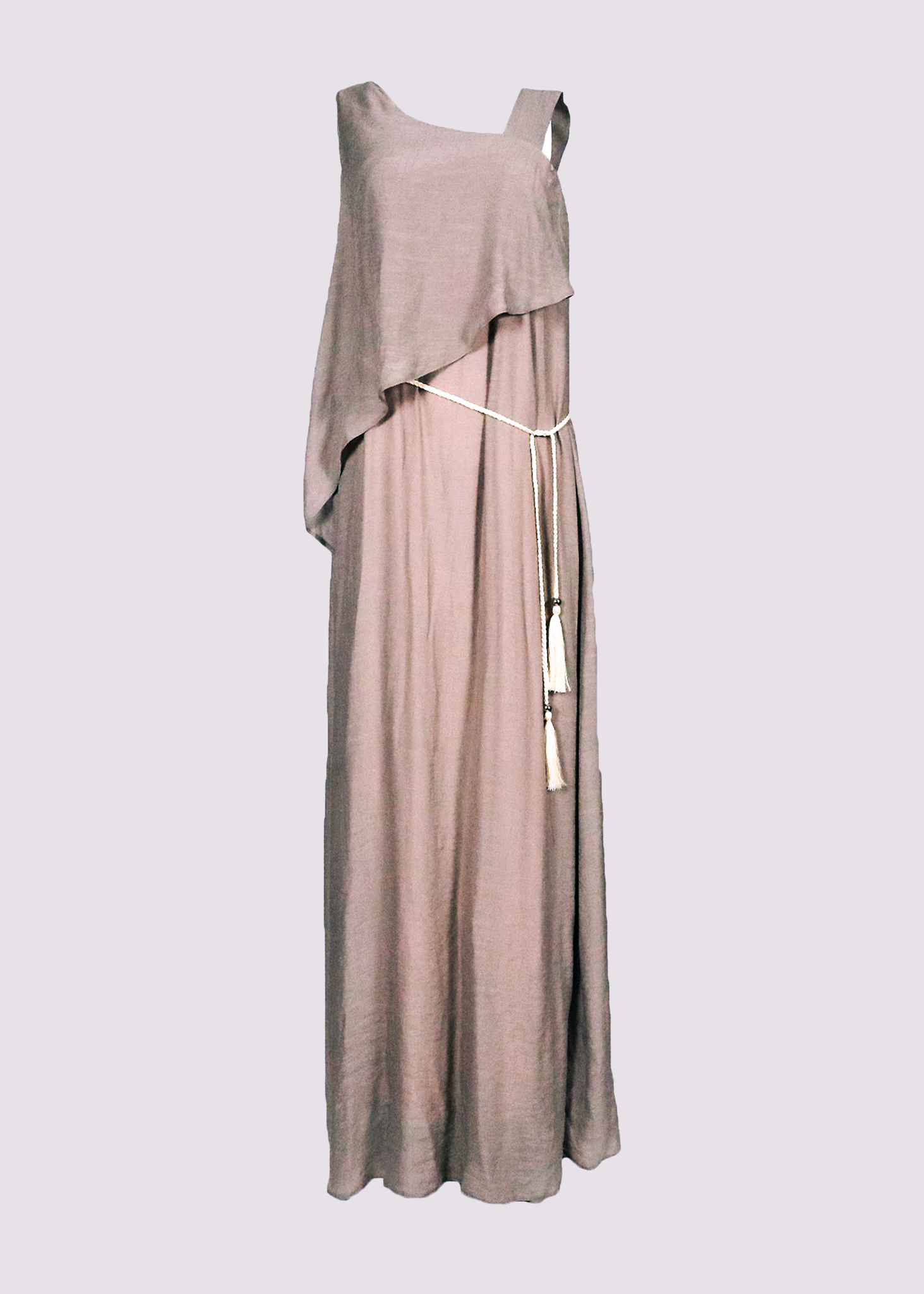 Maxi dress with rope belt in cigar