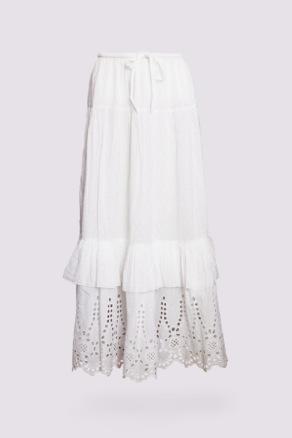 Almaarie  - Rhum Raisin St. Tropez white maxi skirt - product view