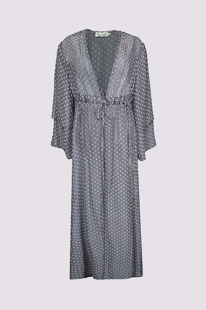 Almaarie  - Moutaki grey kimono with pink dots - product view