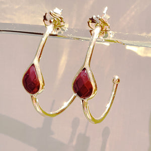 Fakir Burgundy Thin Creole Earrings