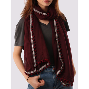MSH scarf in burgundy with pompom