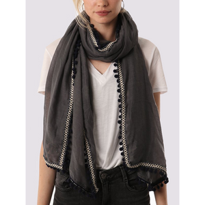 MSH Dark Grey Scarf with Navy Pompom
