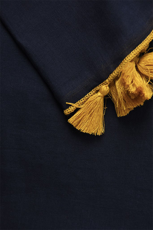 MSH navy blue scarf with mustard coloured pop tassels