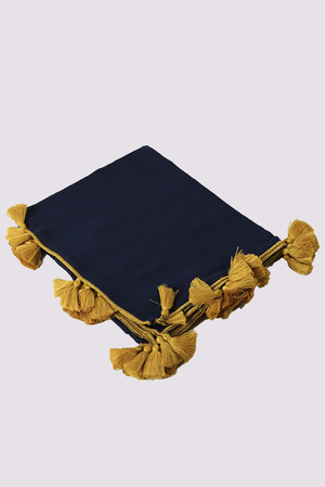 MSH lightweight cotton scarf for women in navy blue colour with mustard yellow tassels