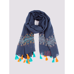 Navy scarf with yellow and aqua tassels