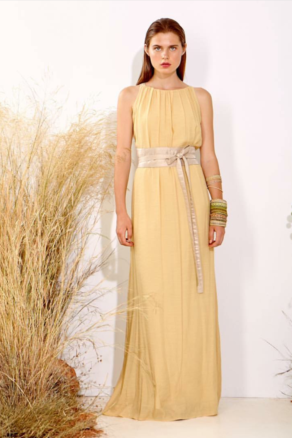 Moutaki Pale Yellow Maxi Dress with Sash Belt