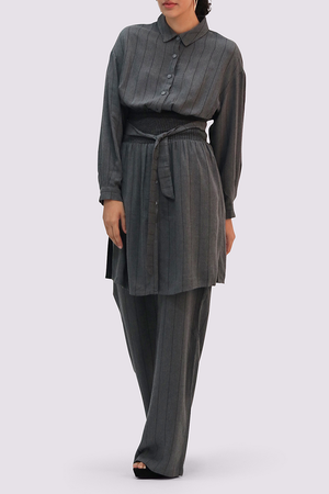 Moutaki Grey Striped Wide-leg Trousers