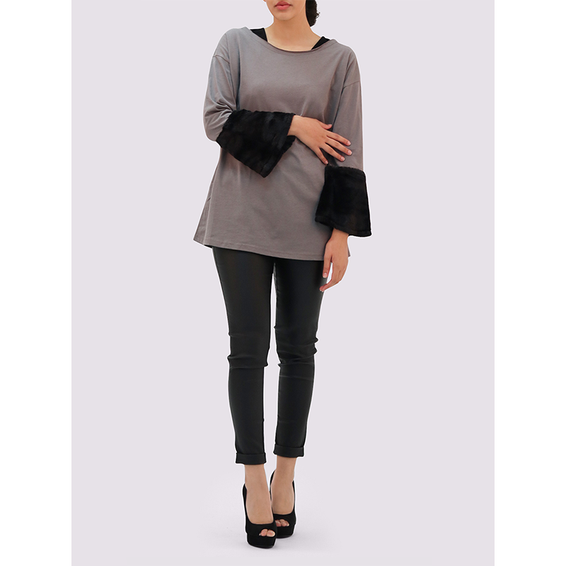 Moutaki Grey Top with Velvet Cuffs
