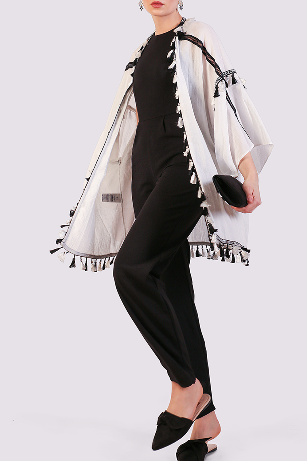 Moutaki white cardigan with black and white tassels