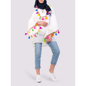Moutaki White tunic with multi-coloured tassels