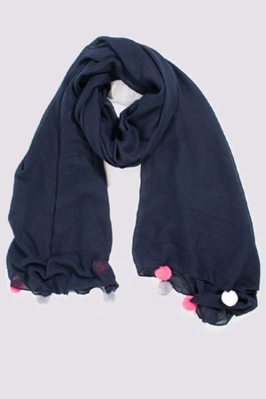 Navy scarf with big pink and grey pom poms by MSH