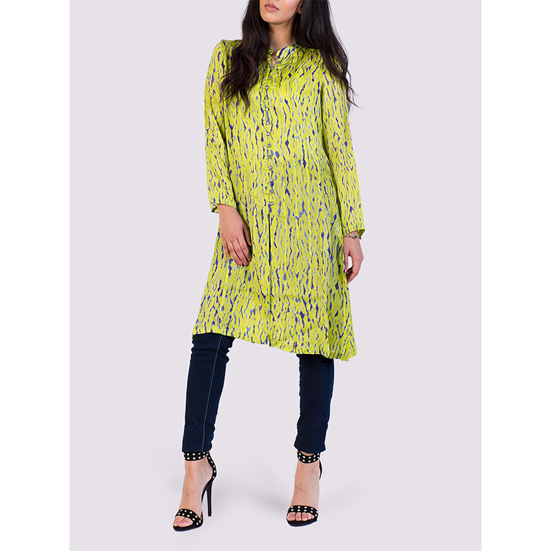 Nila Rubia Bamboo Silk Shirtdress in Lime