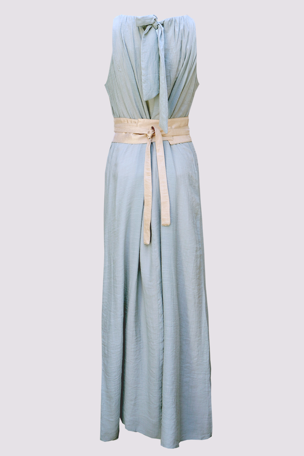 Clay green maxi dress with sash belt by Moutaki