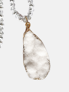 Crystal necklace with druzy pendant