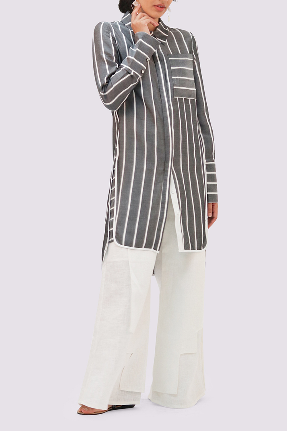 Charcoal shirtdress with white stripes