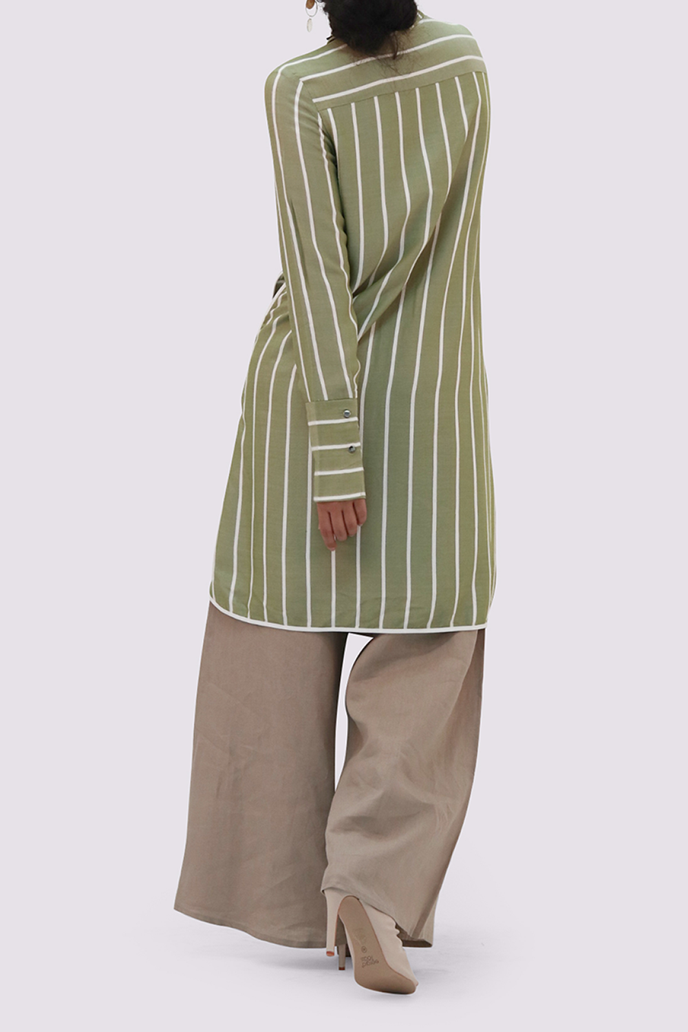 Olive shirtdress with white stripes