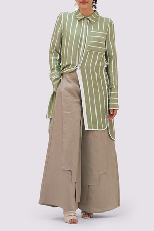 Beige Linen Palazzo Trousers