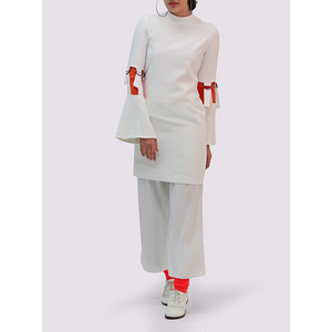 Thais and Stroe High Neck White Dress