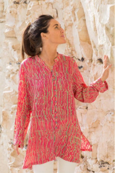 Nila Rubia Shibori panel bamboo tunic in pink and green
