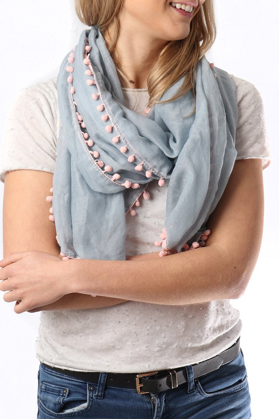 Pale grey scarf with pink pom poms by MSH