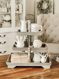 3 Tier Rectangle Wooden Tray - Slate Grey Distressed
