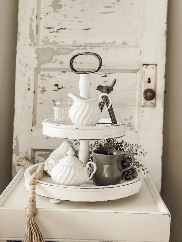 2 Tier Wooden Tray - White Distressed