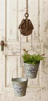 Pulley & Buckets Planter w/ Rustic Chain