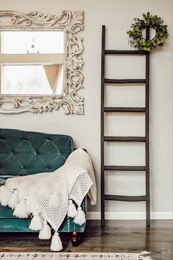 Wooden Blanket Ladder - All Charcoal