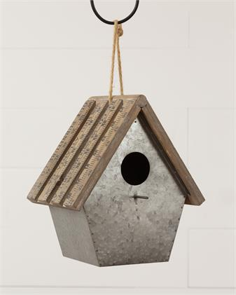 Metal Birdhouse with Yard Stick Roof