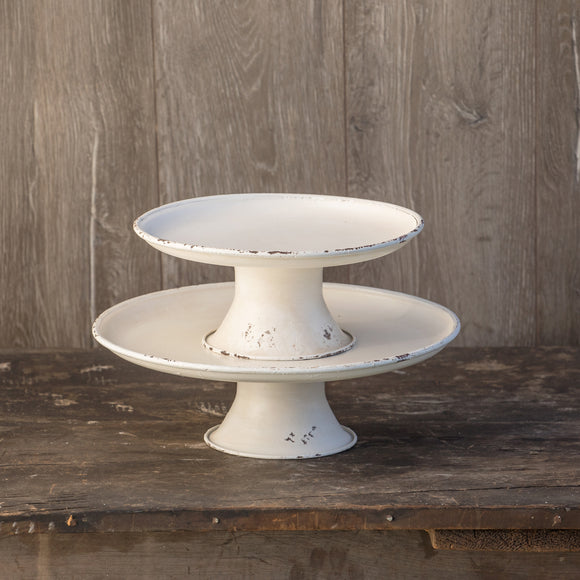 Set of 2 White Cake Stands