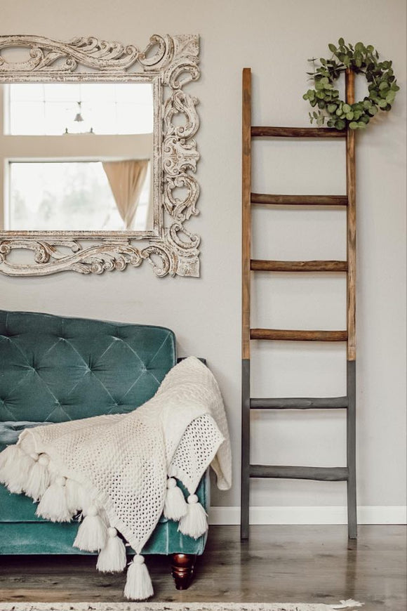Wooden Blanket Ladder - Charcoal Dipped